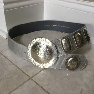 CHICOS metallic silver wide disc leather belt S